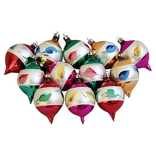 European Christmas Ornaments w/Box, S/12