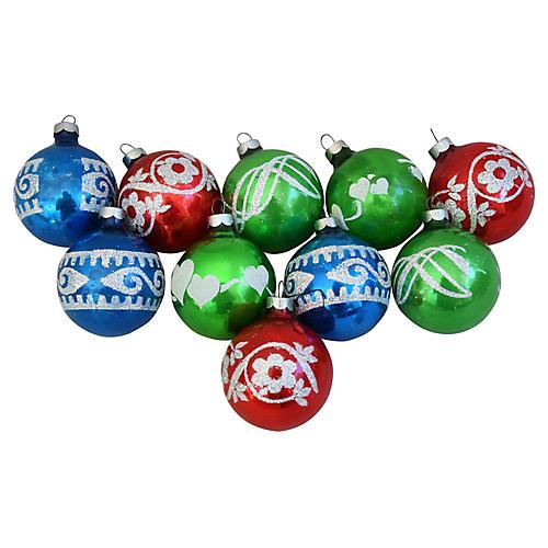 Glitter Christmas Ornaments w/Box, S/10