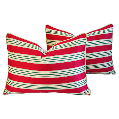 French Stripe Ticking Velvet Pillows, Pr