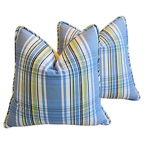 Blue & Yellow Plaid Pillows, Pair