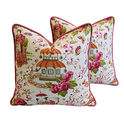 Chinoiserie Pagoda & Floral Pillows, Pr