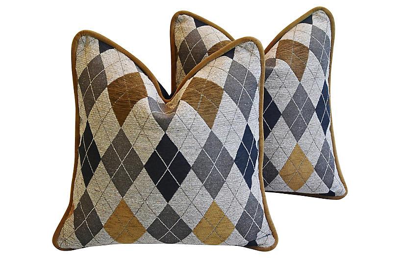 Woven Scottish Argyle Design Pillows, Pr
