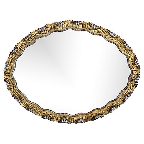 Italian Silver/Gold Gilt Carved Mirror