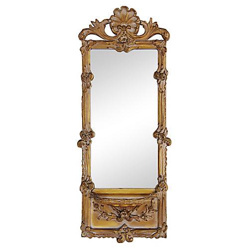 Italian Ornate Scrolled Mirror w/Shelf