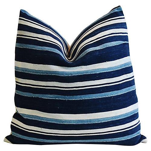 Indigo Blue Stripe & Linen Pillow
