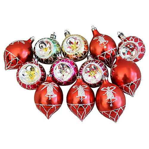 Fancy Christmas Ornaments w/Boxes, S/12
