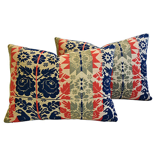 19th-C. New England Coverlet Pillows, Pr