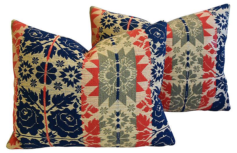19th-C. New England Coverlet Pillows, Pr