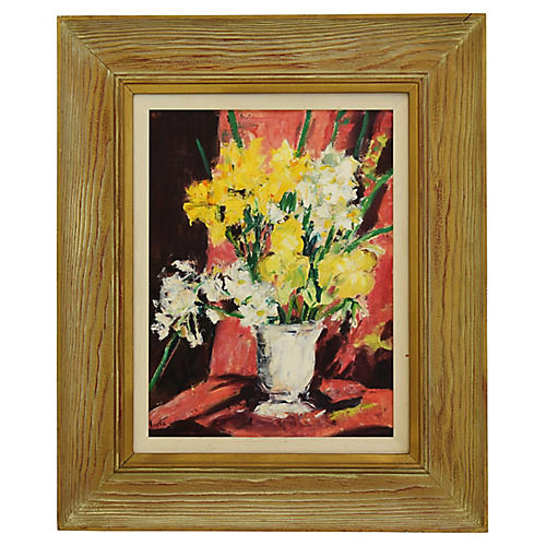 Dorothy Neal, Framed Floral Oil Painting