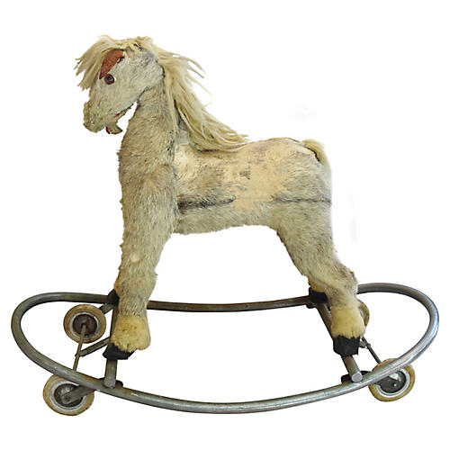 Antique Toy Horse on Wheels