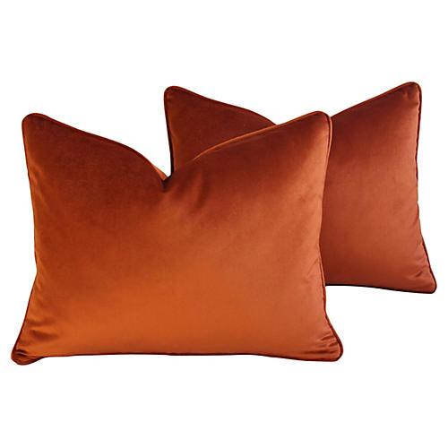Autumn Rusty Copper Velvet Pillows, Pair