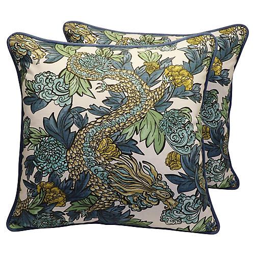 Chinoiserie Asian Dragon Pillows, Pair