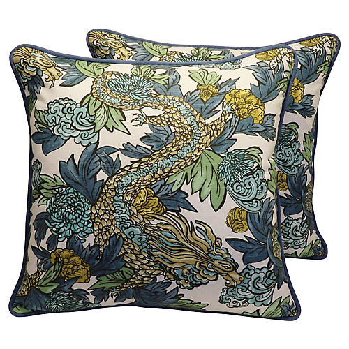 Chinoiserie Asian Dragon Pillows, Pair