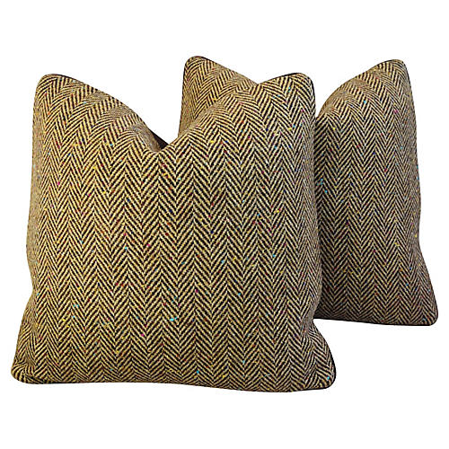 Herringbone Wool & Leather Pillows, Pr
