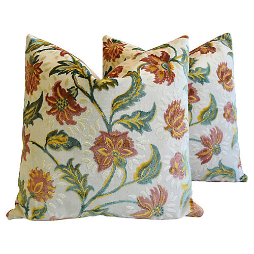 French Floral Linen Velvet Pillows, Pair