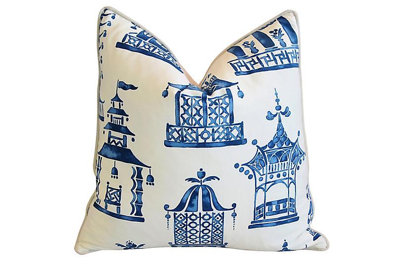 Blue & White Chinoiserie Pagoda Pillow