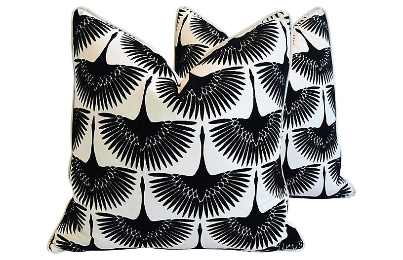 Black Birds in Flight Velvet Pillows, Pr
