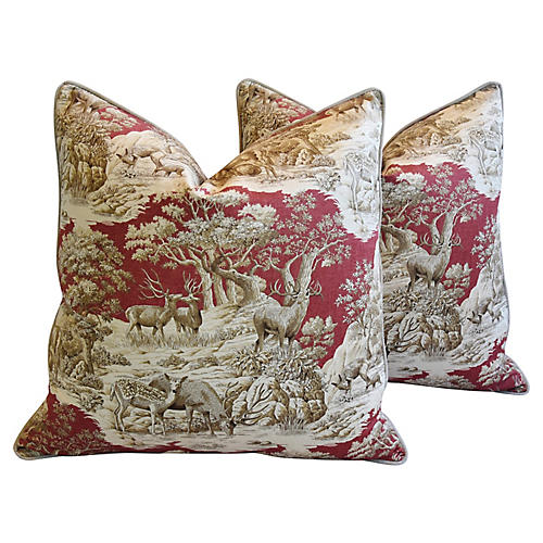 Woodland Toile Deer & Velvet Pillows, Pr