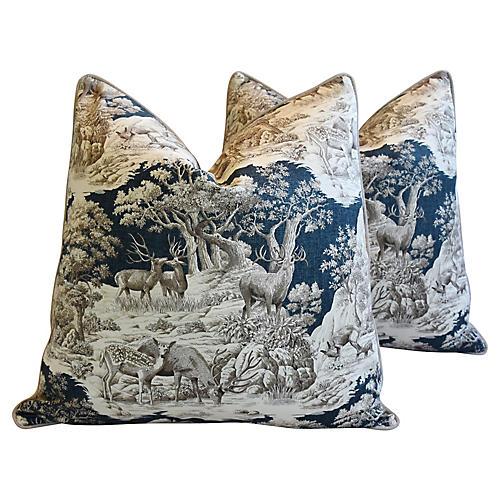 Woodland Toile Deer & Velvet Pillows, Pr