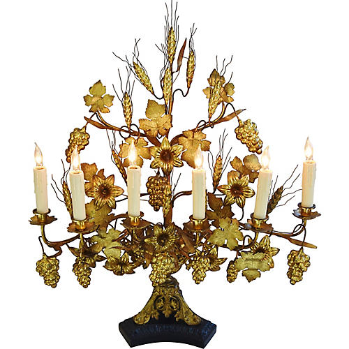 1940s French Gilt Centerpiece Table Lamp
