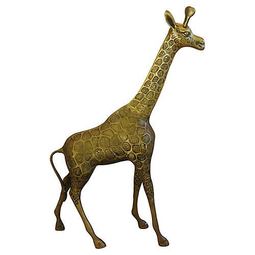 "Large 22"" Tall Midcentury Brass Giraffe"