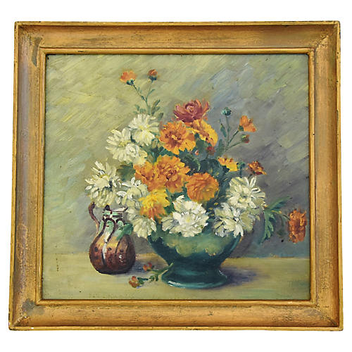 1940s Floral Tablescape Oil Painting
