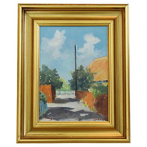 Danish Village Landscape Oil Painting