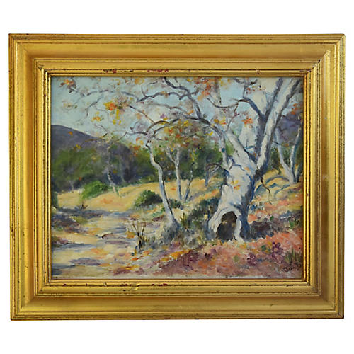 Golden Foothills Landscape Oil Painting