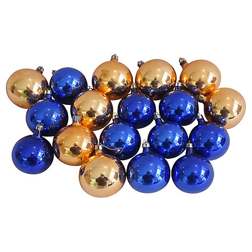 Gold & Blue Christmas Ornaments, S/18