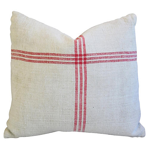 French Homespun Grain Sack Pillow