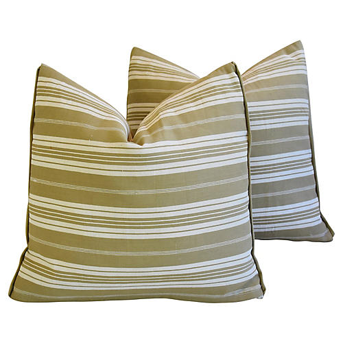 French Ticking Striped Pillows, Pair