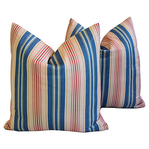 Blue, Pink & Red Striped Pillows, Pair