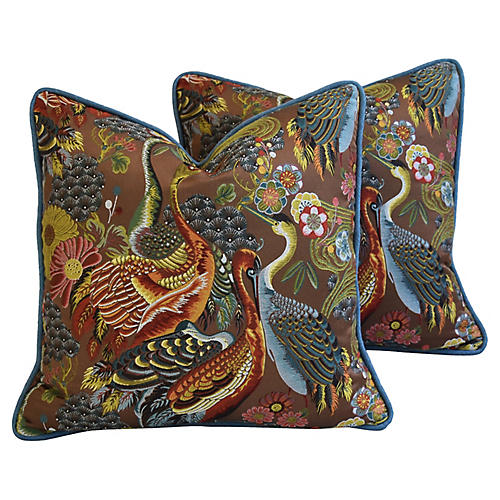 Embroidered Chinoiserie Pillows, Pair