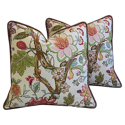 English Jacobean Floral Pillows, Pair