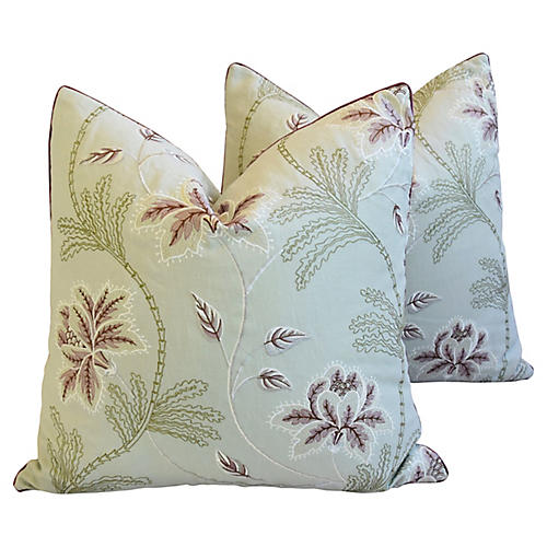 English Embroidered Floral Pillows, Pair