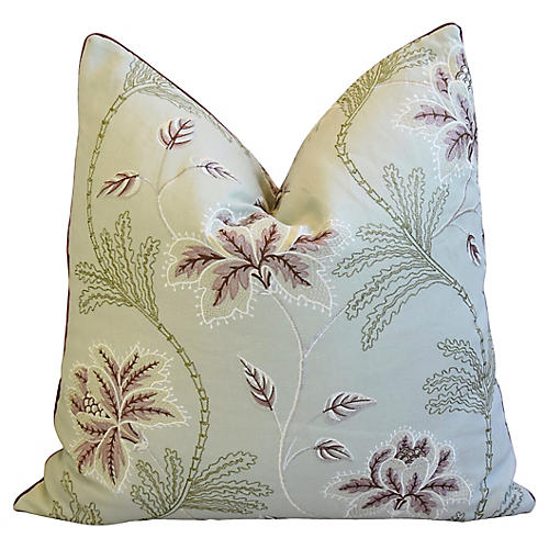 English Embroidered Linen Floral Pillow