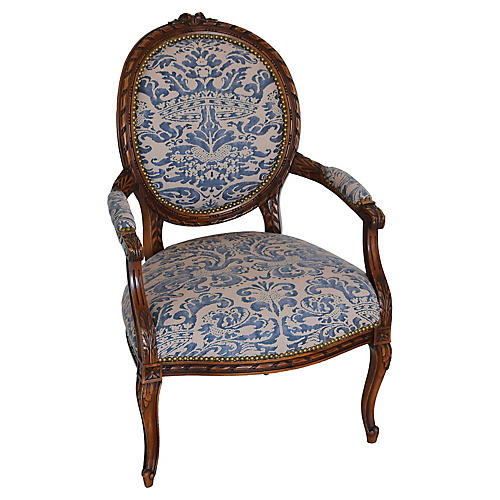Antique Carved Oak & Fortuny Armchair
