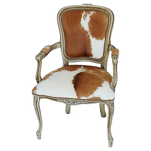 Carved Armchair W/ Brown & White Cowhide