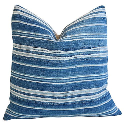 Boho Chic Blue & White Striped Pillow