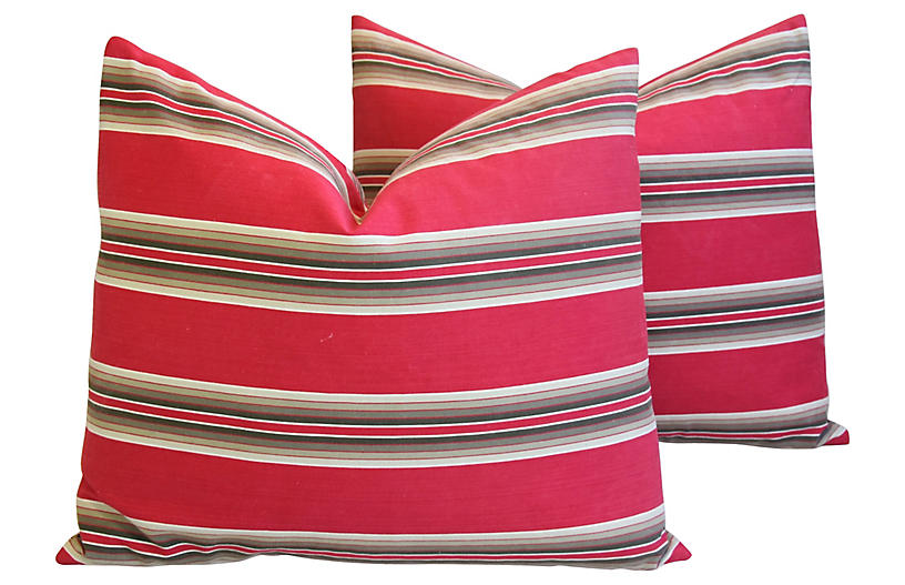 Red French Ticking Striped Pillows, Pair