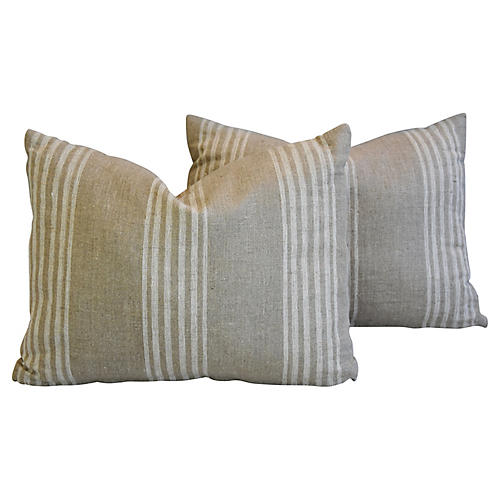 Tan & White French Ticking Pillows, Pair