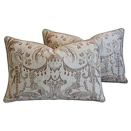 Fortuny Italian Mazzarino Pillows, Pair