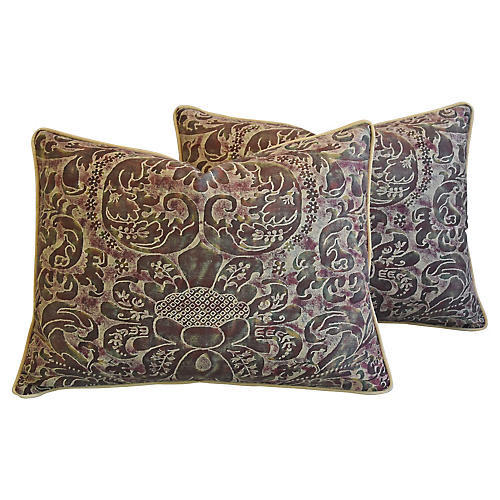 Italian Fortuny Caravaggio Pillows, Pair