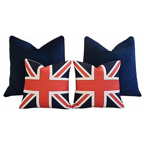 Blue Velvet & Union Jack Pillows, S/4