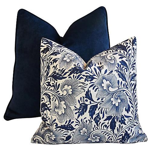 Blue Velvet & Floral Pillows, S/2