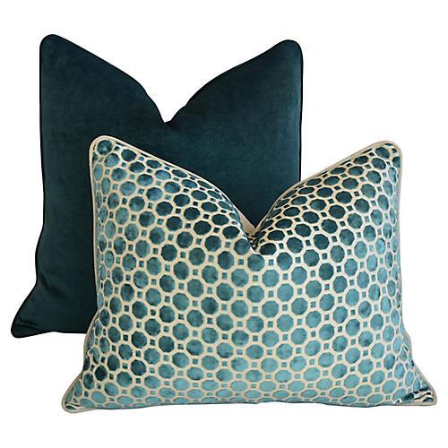Marine Turquoise Velvet Pillows, S/2