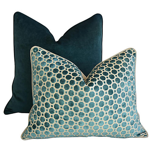 Marine Turquoise Velvet Pillows, S/2