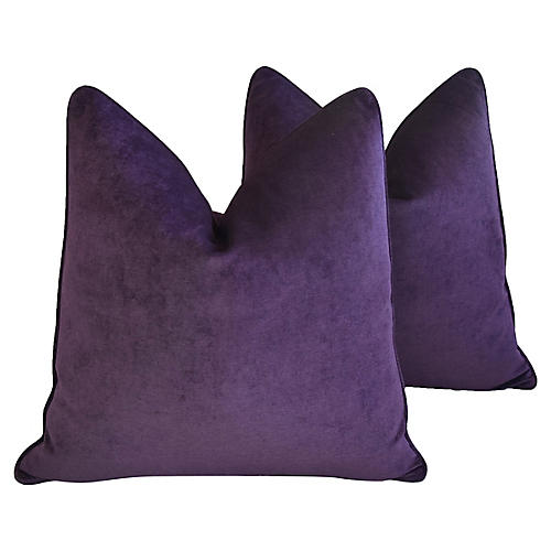 Ultra Violet Purple Velvet Pillows, Pair