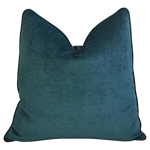 Marine Turquoise Velvet Pillow
