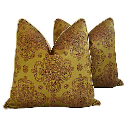Cohama Hand-Printed Silk Pillows, Pair